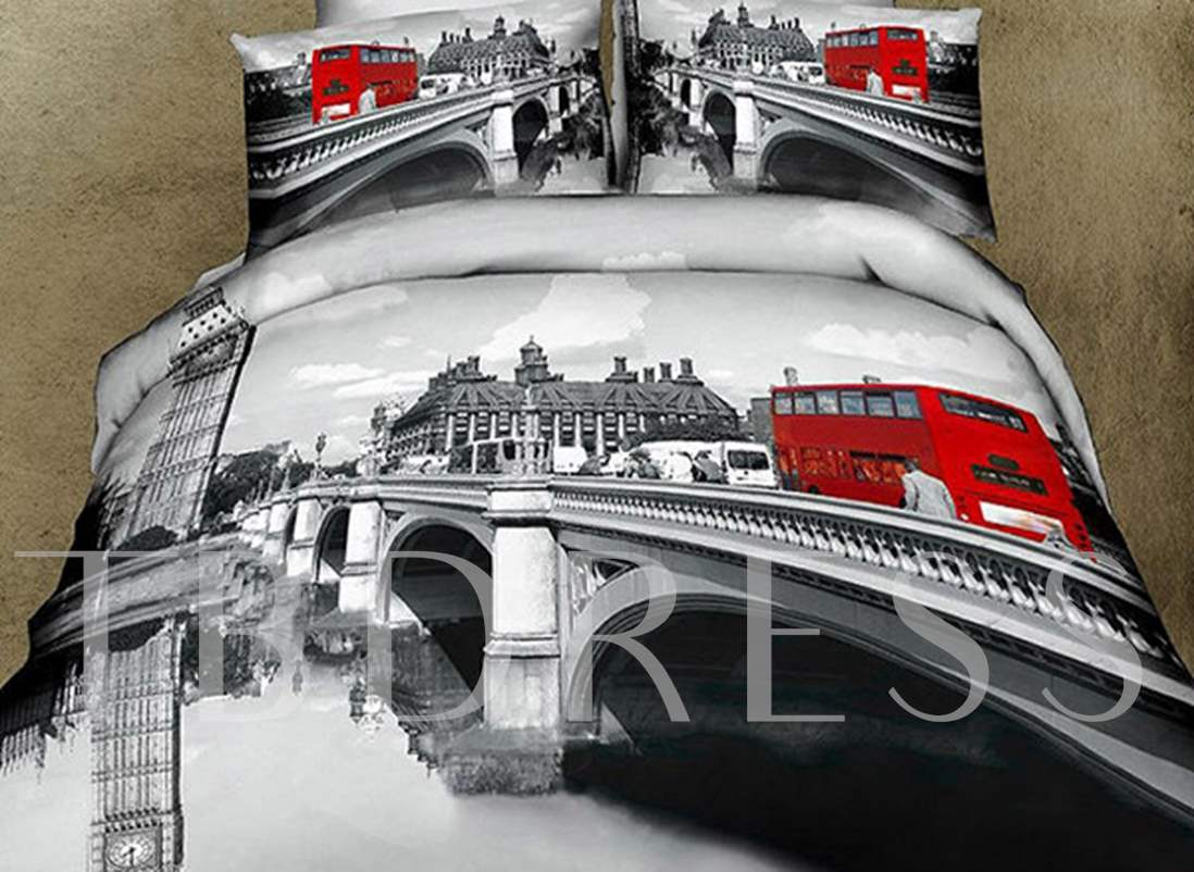 Gray Color Bridge Scenery City Style Red Bus Print 4 Piece Bedding Sets