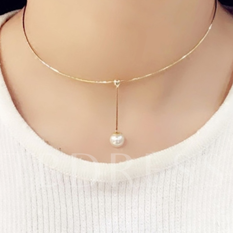 Pearl Inlaid Golden E-Plating Round Choker Neckalce