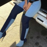 Stylish Contrast Color Pointed Toe Over the Knee Denim Boots