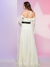 A-Line Off-the-Shoulder Bowknot Ruched Sashes Prom Dress