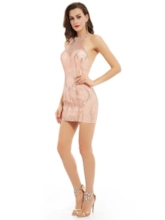 Halter Sheath Backless Sequins Short Cocktail Dress