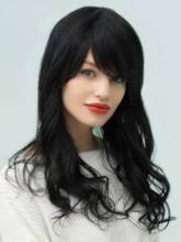 Natural Black Wave Long Human Hair With Bangs Capless Wigs 18 Inches