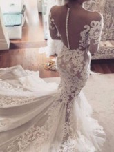 Illusion Neck Appliques Long Sleeves Mermaid Wedding Dress
