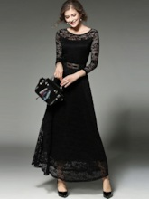 Solid Color Long Sleeve Lace Women's Maxi Dress