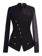 Buckle Zipper Patchwork Slim Women's Blazer