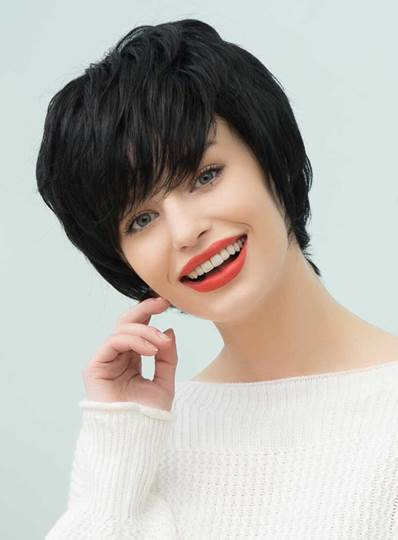 Straight Layered Short Capless Cap Wigs Human Hair With Bangs 10 Inches (Average)