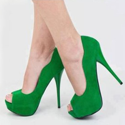 Greenery Peep Toe Platform Plain Women's Pumps