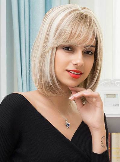 Bob Mixed Color Straight Blonde Mid-Length Human Hair With Bangs Capless Wigs 14 Inches