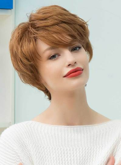 Graceful Short Feathered Pixie Haircut with Wispy Bangs Human Hair Capless Wigs 10 Inches