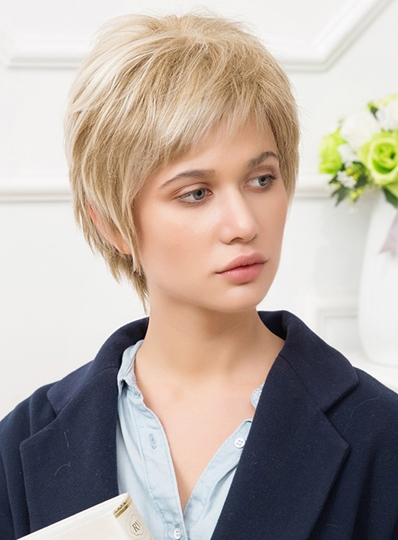 Pixie Light Color Loose Straight Layered Synthetic Hair Capless Wigs 10 Inches