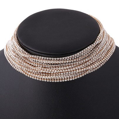 Multilayer Full Rhinestone Silver Prom Choker Necklace