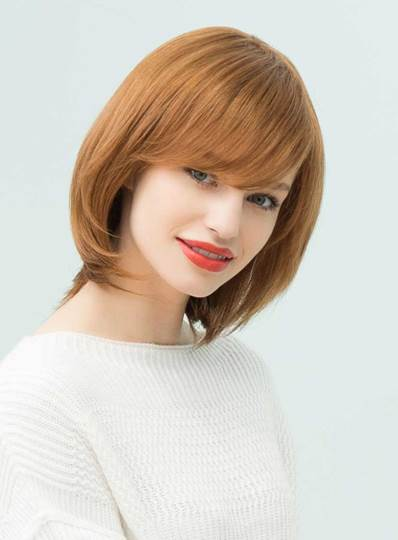 Nature Straight Human Hair Blend Capless Wigs 12 Inches (Average)