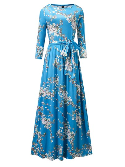 Blue Lace up Floral Women's Maxi Dress