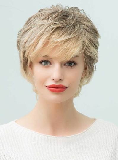 Short Layered Curly Human Hair With Bangs Capless Wigs 10 Inches