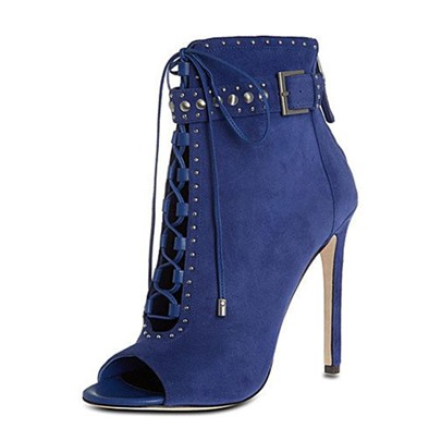 Dark Blue Denim Rivets Lace Up Buckle Booties