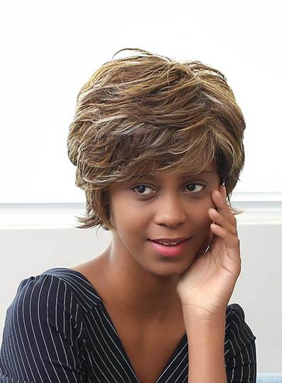 Short Layered Messy Mixed Color Curly Human Hair Capless Wigs 10 Inches