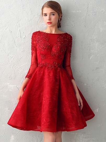 A-Line Backless Bateau Appliques Beading Lace Pearls Homecoming Dress