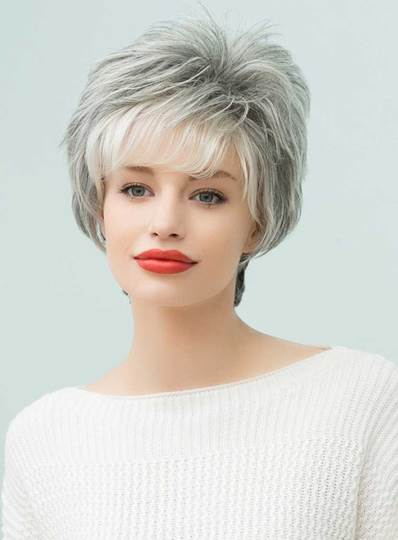 Curly Loose Messy Short Gray Human Hair Capless Wigs 8 Inches