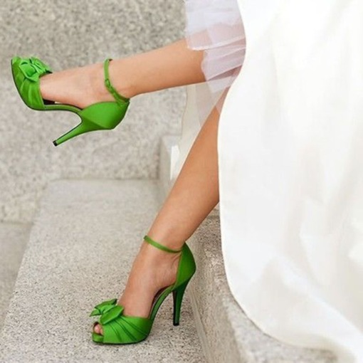 Greenery Bow Bridal Shoes