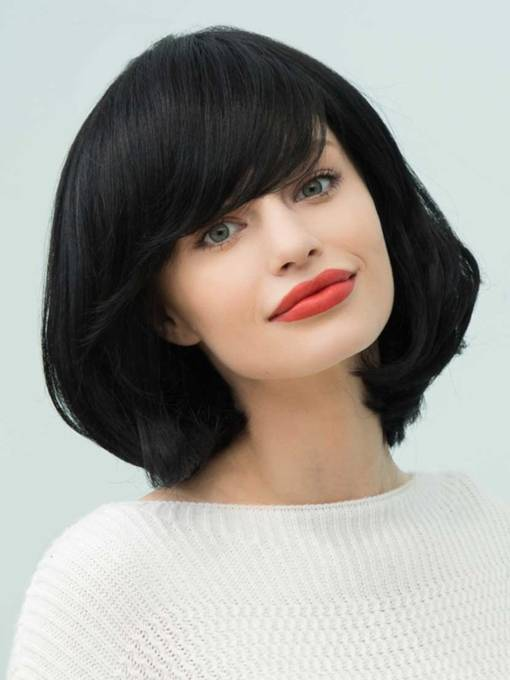 Loose Bob Natural Black Medium Straight Human Hair With Bangs Capless Cap Wigs 14 Inches