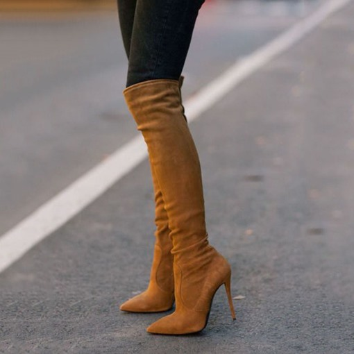 Brown Knee High Stiletto Boots