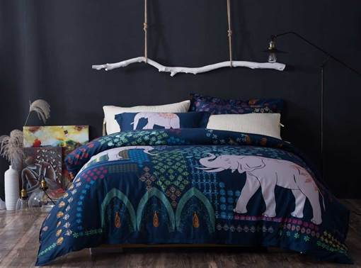 Elephant Nature Printed Cotton 4-Piece 3D Bedding Sets/Duvet Covers
