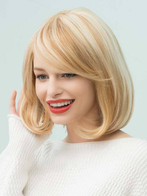 Bob Hairstyles Straight Mixed Color Mid-Length Human Hair Capless Wigs 14 Inches