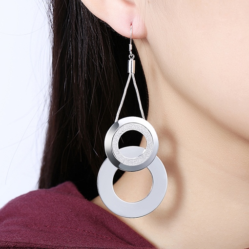 Double Circle Design E-Plating Pendant Earrings