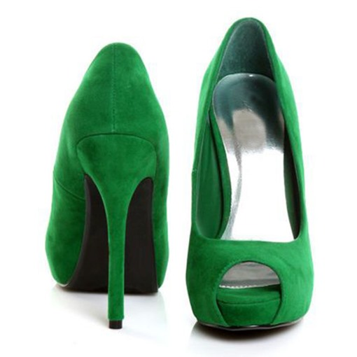 Greenery Peep Toe Platform Stiletto Heel Women's Pumps