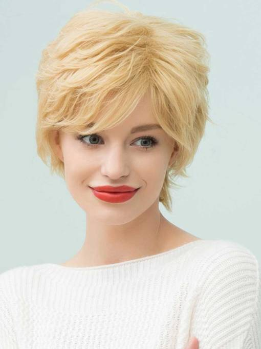 Layered Short Messy Curly Golden Human Hair Capless Wigs 10 Inches