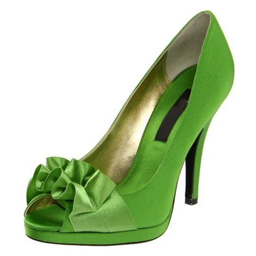 Greenery Floral Appliqued Peep Toe Bridal Shoes