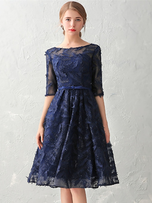 A-Line Bateau Half Sleeves Bowknot Lace Sashes Knee-Length Cocktail Dress