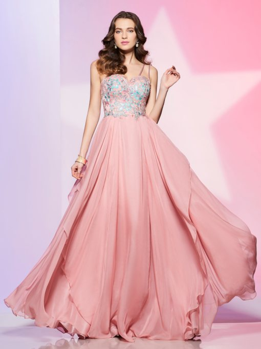 Spaghetti Straps Appliques Floor-Length Prom Dress