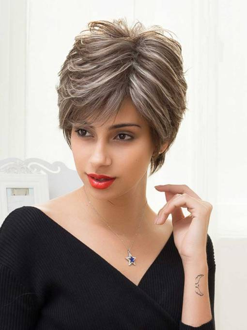 Short Straight Color Mixture Human Hair Capless Wigs 8 Inches