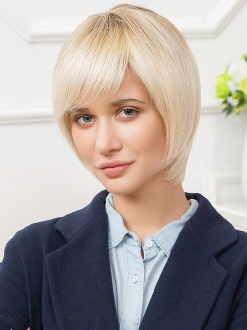 Short Straight Lob Human Hair Blend Capless Wigs 10 Inches