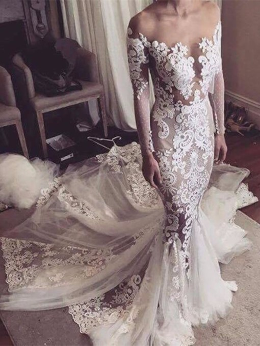 Sheer Tulle Neckline Appliques Long Sleeves Wedding Dress