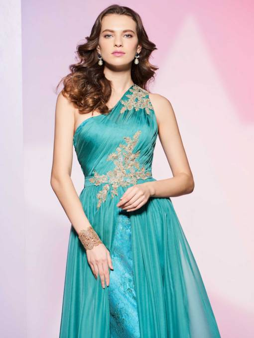 A-Line One-Shoulder Appliques Lace Ruched Floor-Length Prom Dress