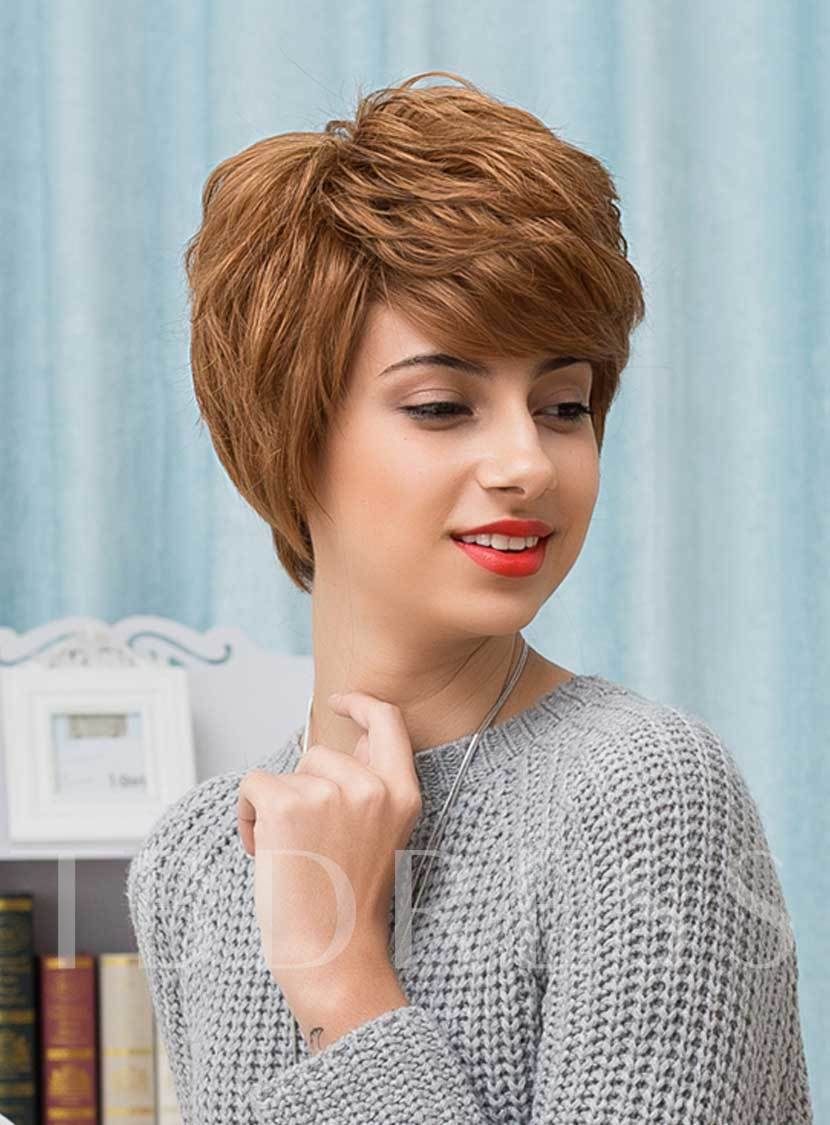 Pixie Curly Layered Short Honey Human Hair With Bangs Capless Wigs 10 Inches