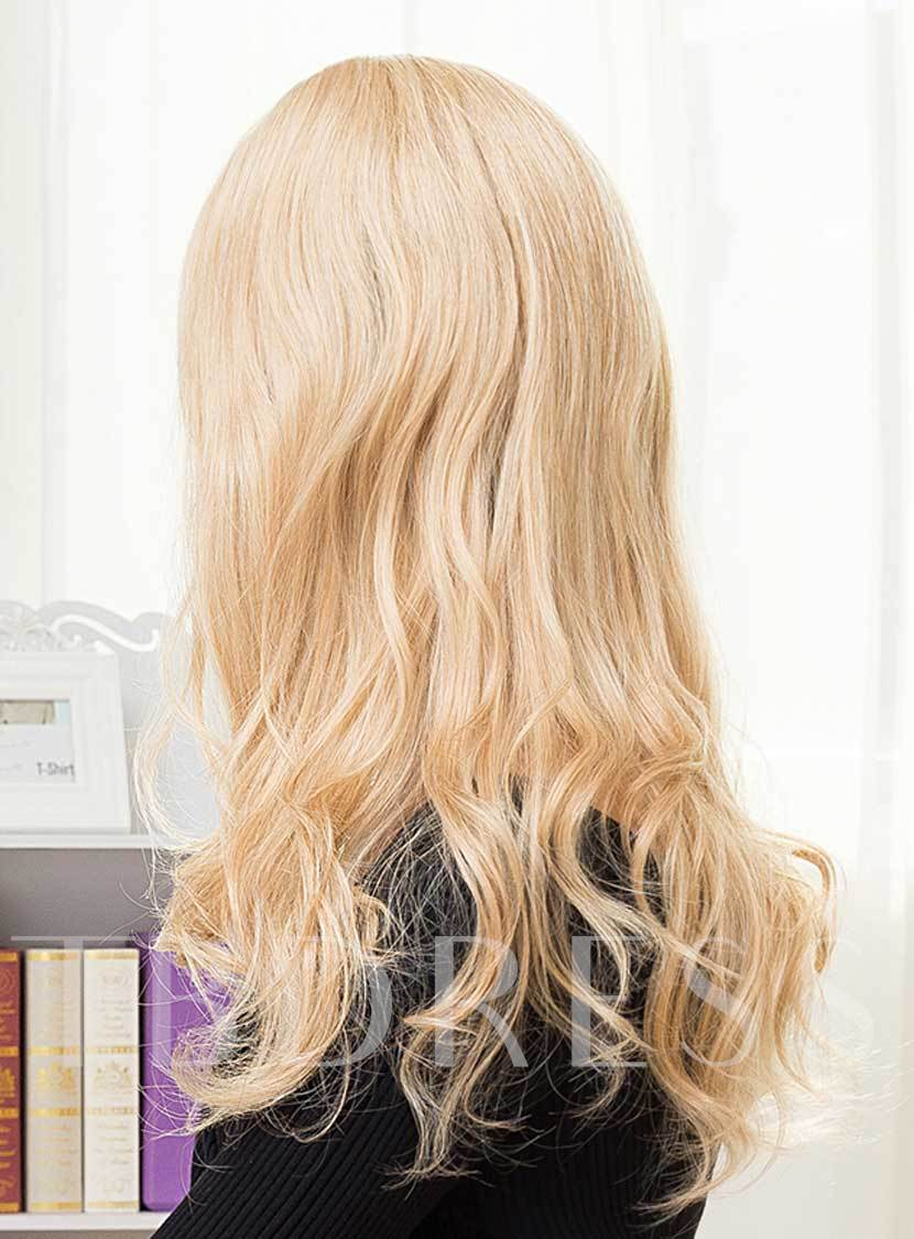 Long Curly Cheap Women Human Hair With One Side Part Bangs Wigs Capless 22 Inches