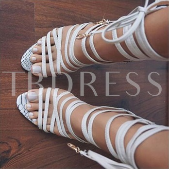 White Wrap Up Sandals