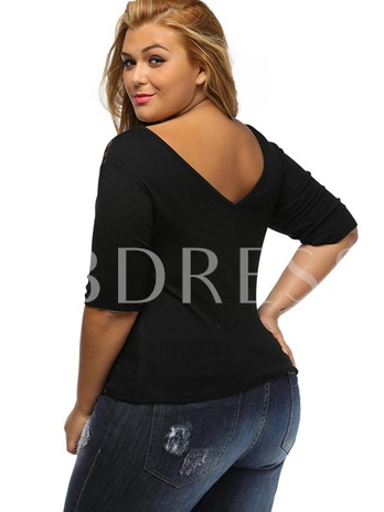 V-Neck Lace Patch Plus Size Women's Blouse
