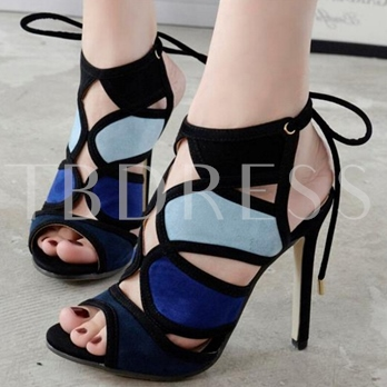 Lace-Up Stiletto Heel Peep Toe Hollow Women's Sandals