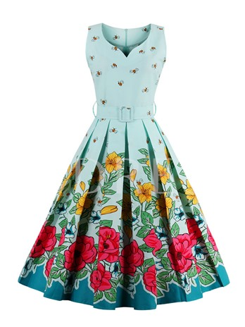 Square Neck Pleated Vintage Floral Women's Day Dress