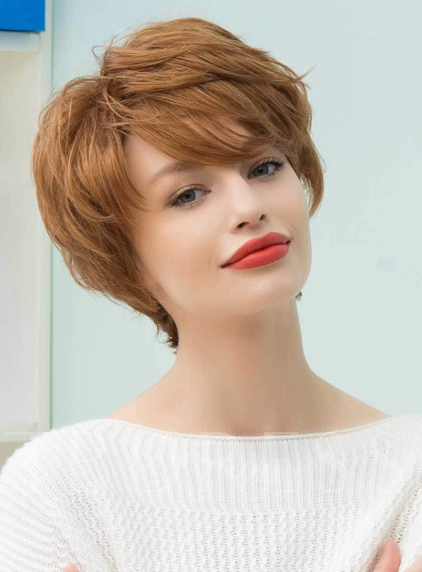 Graceful Short Feathered Pixie Haircut With Wispy Bangs Human Hair