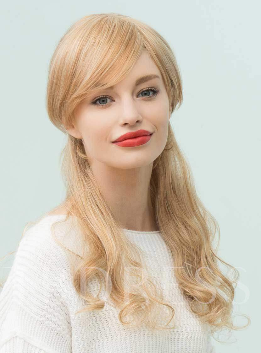 Long Natural Wavy Side Part Bangs Human Hair Blend Capless Wigs 22 Inches