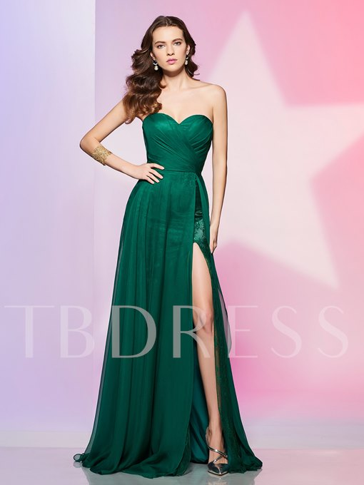 A-Line Sweetheart Lace Ruched Split-Front Prom Dress