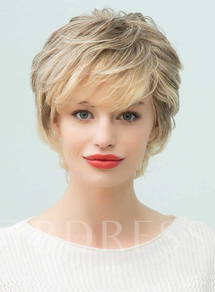 short layered curly human hair with bangs capless wigs 10
