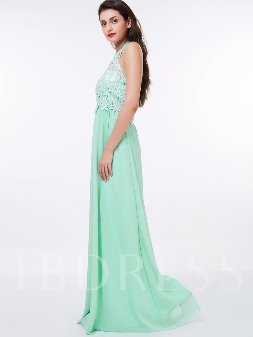 Lace A-Line Halter Floor-Length Evening Dress