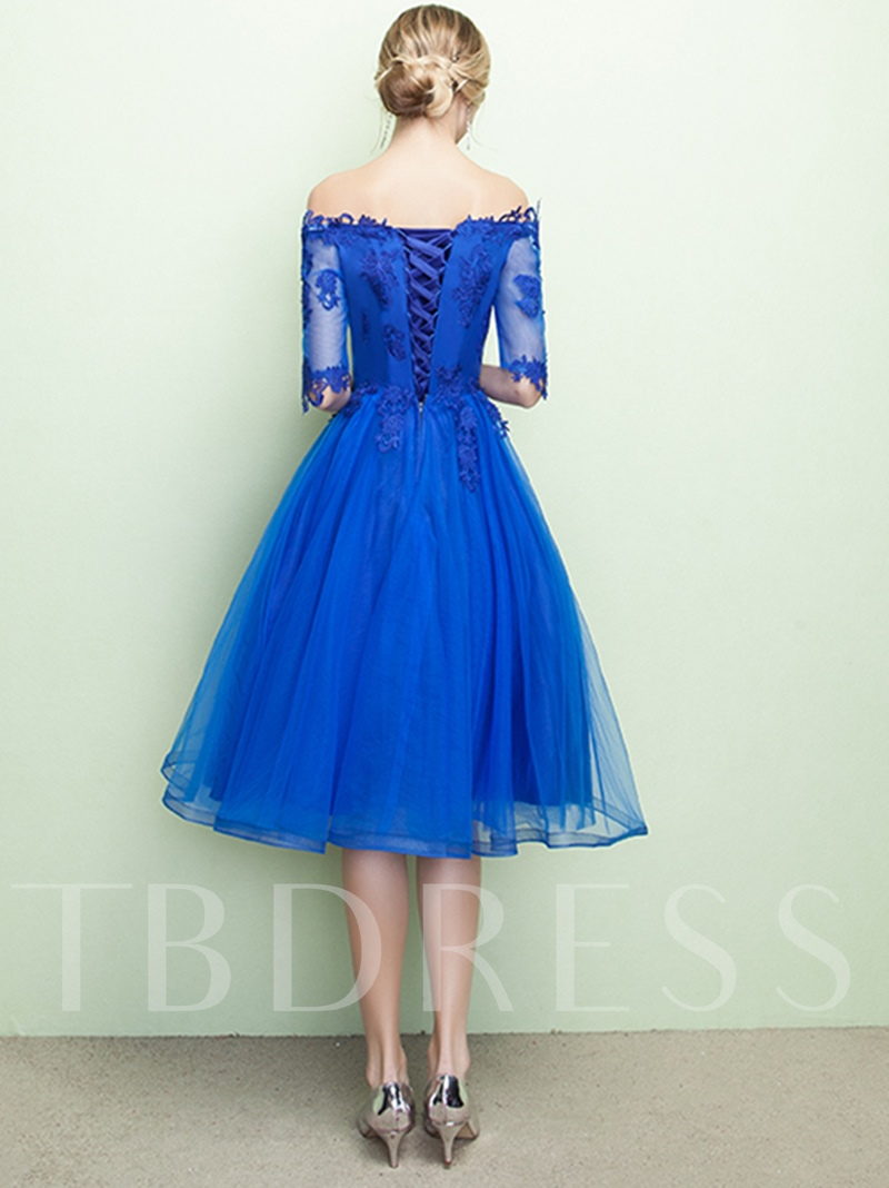 A-Line Off-the-Shoulder Appliques Prom Dress