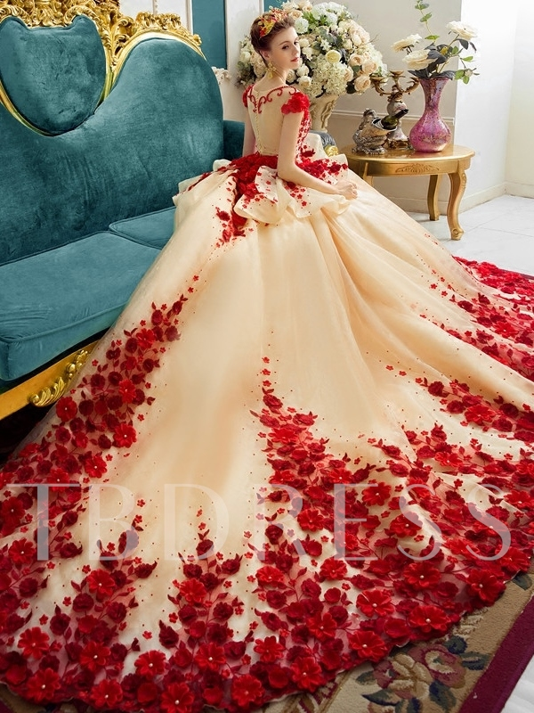 Scoop Ball Gown Color Chapel Train Wedding Dress